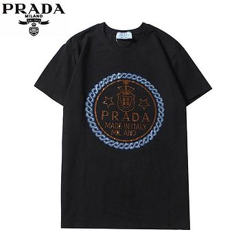 Prada Summer New Fashion Diamond Letter Women Men Top T-Shirt Black