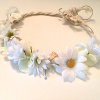 white flower crown with shells