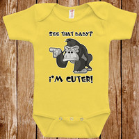 Baby Infant Bodysuit Clothes One piece Romper Joke Boy Girl I'm Cuter Than That Baby Fun Geek Adorable Cute Shower Gift