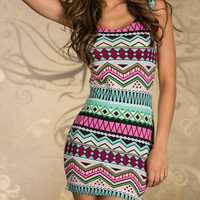Pink Tribal Printed Bodycon Dress