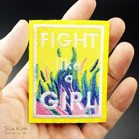 FIGHT LIKE A GIRL 5.3x6.8cm DIY Iron On Patches Embroidered Applique Sewing Patch Clothes Stickers Garment Apparel Accessories