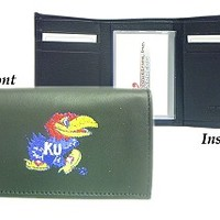 Rico Kansas Jayhawks Embroidered Leather Trifold Wallet