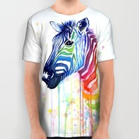 Zebra Watercolor Rainbow Painting   Ode to Fruit Stripes All Over Print Shirt by Olechka