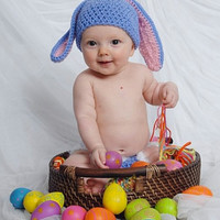 Baby's First Easter, Easter Bunny Hat with Floppy Ears,Easter Photo Prop, Bunny Rabbit Hat