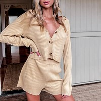 2020 new women's fashion casual sweater shorts suit two-piece suit