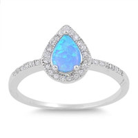 925 Sterling Silver CZ Teardrop Center Embraced Lab Blue Opal and Ring 10MM