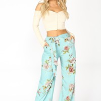 Samantha Waist Tie Pants - Blue