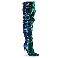 Courtly 3011 Sexy Thigh High Boots Green Mermaid Sequin 5 inch Stiletto Heel 6 - 14