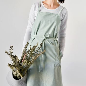 Unisex Soft Cotton Linen Apron for Adults, Japanese-Inspired Style, Basic Pale Green