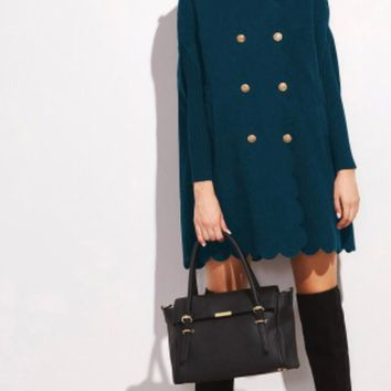 Scalloped edge Double breasted Peacoat- Blue