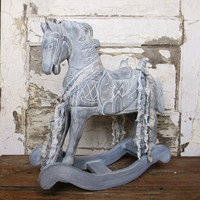 Vintage Wooden Rocking Horse - Colorful Cast and Crew