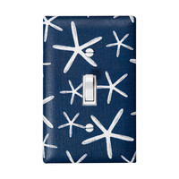 Star Fish Nautical Light Switch Plate Cover / Boys Baby Nursery Decor / Navy Blue and White Sea Stars / Kids Room Bathroom