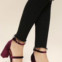 Cadee Wine Velvet Dress Sandals