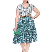 Contrast Print Fit and Flare Dress