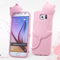 [Bear Life] for Samsung Galaxy S6 Case, 3D Cute Cartoon Lovely Kiki Cat Soft Silicone Cover Case for Samsung Galaxy S6 + Cute Kiki Cat Earphone Jack Anti-Dust Plug in Retail Pacakge (Mint)