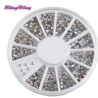AB Color DIY Nail Decorations Glitter Rhinestones For Nail 3D Gilver Gems Round Studs Strass Nail Art Sticker Decoration Wheel