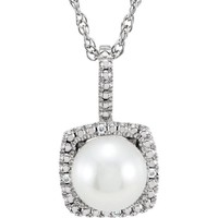 """Sterling Silver 7mm Freshwater Cultured Pearl & .015 CTW Diamond 18"""" Halo-Style Necklace"""