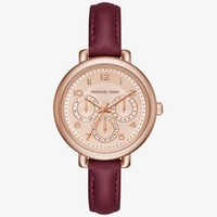 Kohen Rose Gold-Tone and Leather Watch | Michael Kors