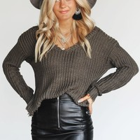 Going For It Olive Deep V-Neck Shredded Sweater