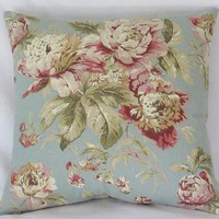 Blue and Pink Floral Pillow Cover