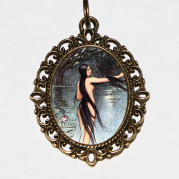 Water Nymph Necklace, Warwick Goble, Goddess Jewelry, Oval Pendant