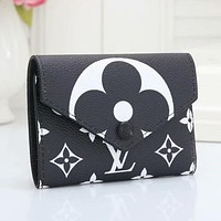 LV Louis Vuitton hot sale printed letters men and women button small wallet key case Black
