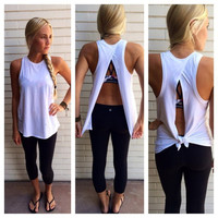 Scoop Backless Sleeveless Pure Color Casual Blouse