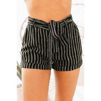 Favorite Things Striped Belted Shorts (Black)