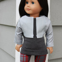 3 piece set! grey tank top, red and grey plaid leggings, light grey denim jacket , 18 inch doll clothes, American girl, Maplelea