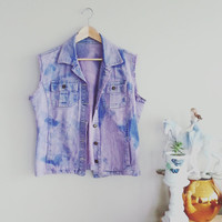 PINK & PURPLE Denim Vest 90s~ Tie Dye Distressed Denim Jacket~ Kitsch Hipster~ Ladies Large~ Grunge Emo Vest~ Jeans Vest~ Denim Vintage Vest