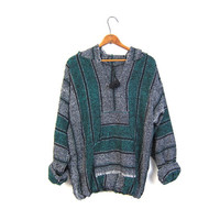 Drug Rug Hoodie Jacket Grey Green Mexican Sweatshirt Hippie Boho Hooded Ethnic Vintage Blanket Stripe Bohemian Kangaroo Medium Large Small