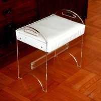Hollywood Regency Lucite Vanity Bench or Stool with Original White Vinyl Seat