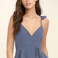 Totally In Love Slate Blue Wrap Top
