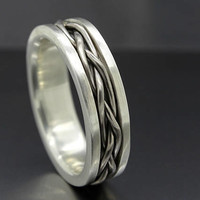 mens wedding band medieval, gold braided wedding ring viking, engagement ring gold braided, proposal ring gold silver, woven ring for him