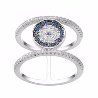 KIVN Fashion Jewelry Delicate Tiny Pave CZ Cubic Zirconia Evil eye Rings for Women