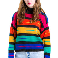 Vintage Rainbow Stripe Sweater - One Size Fits Many