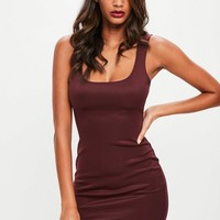 Missguided - Burgundy Scuba Square Neck Bodycon Dress