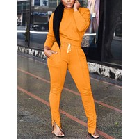 Luxirious Orange Plain Full Length Two Pieces Sweat Suit Loose