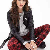 FOREVER 21 Plaid & Floral Leggings Red/Black