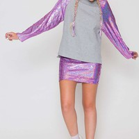 **Pink Hologram Sequin Sleeve Sweat by Jaded London