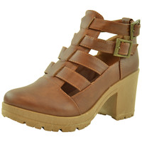 Womens Ankle Boots Cutout Strappy Buckles Chunky Heel Shoes Tan