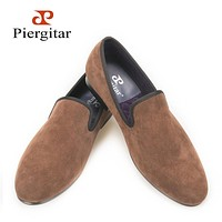 Piergitar new arrive men Handcrafted velvet plain shoes British style men smoking slippers Men Casual shoes Party dress loafers