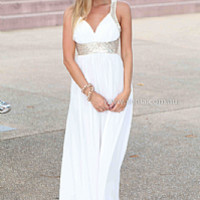 GOLDEN MOMENT MAXI , DRESSES, TOPS, BOTTOMS, JACKETS & JUMPERS, ACCESSORIES, 50% OFF SALE, PRE ORDER, NEW ARRIVALS, PLAYSUIT, COLOUR, GIFT VOUCHER,,MAXIS,White,Sequin,SLEEVELESS Australia, Queensland, Brisbane