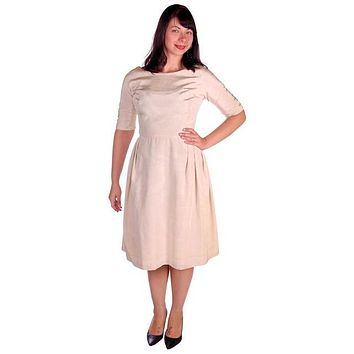 Vintage Watered Faille Cocktail/Wedding Dress Ivory 1960s 36-29-Free For Costume