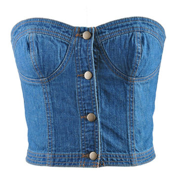 Blue Denim Button Down Bustier Crop Top