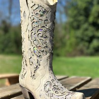 white glitter inlay boot by corral