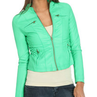 Smocked Faux Leather Jacket   Shop Jackets at Wet Seal