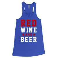 Red Wine And Beer, July Fourth Shirt, July 4th Women's Graphic Tank Top