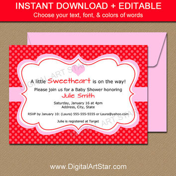 Printable Valentines Day Invitation Template - EDITABLE Valentine Invitation - Digital Baby Shower Invite - Bridal Shower Anniversary PR