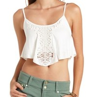 Crochet Applique Flounced Swing Crop Top by Charlotte Russe